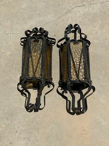 Antique Spanish Revival Iron Amber Glass Sconces 2 Unrestored Likely 1930s