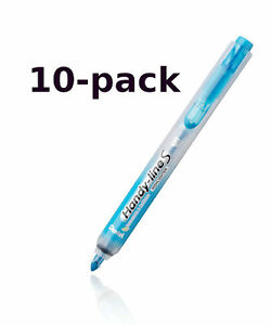 New Pentel 10 pack Handy line S Retractable Permanent Sky Blue Highlighter Nxs15