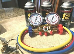 R12 Duel Manifold Gauge Hoses And Tapper see Photos