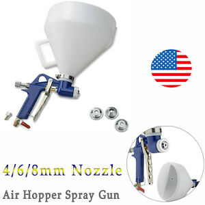 4 6 8mm Nozzle Air Hopper Spray G un Paint Spraying Texture Gravity Feed Drywall