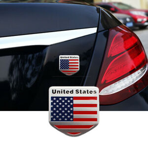 Usa Flag Sticker Decor Car Vehicle Logo Emblem Metal Badge Decal Accessories