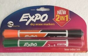 Expo Dry Erase 2 in 1 Markers Chisel Tip 4 Colors
