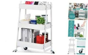 3 tier Utility Rolling Cart Serving Cart With Large Storage And Metal White