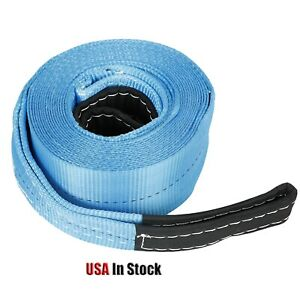 4 X 30 Heavy Duty Recovery Winch Tow Loop Strap 4x4 Rope Chain Towing Tow Blue