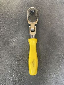 Snap on 3 8 Drive Stubby Hand Ratchet Yellow Hard Handle Fhkfd80a New