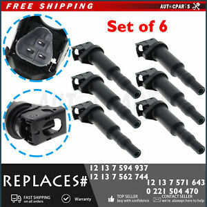 6x Bosch Ignition Coil Kit Set W Spark Plug Connector For Bmw 5 6 7 X5 X6