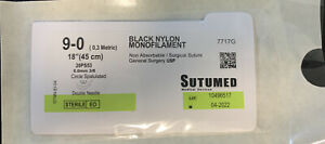Sutumed Nylon 9 0 3 8 6 0mm Spatulated Double Armed Surgical Suture