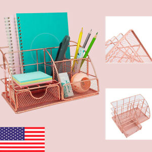 Rose Gold Desk Organizer With Drawer Pen Holder Office Accessories For Women