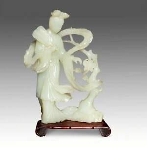 Quan Kwan Guan Yin Holding Fan Jade With Wood Stand Goddess Compassion Buddhism