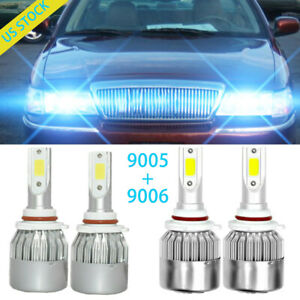 Ice Blue 9005 9006 Led Headlight Bulbs Combo Kits 8000k For Honda Civic Odyssey