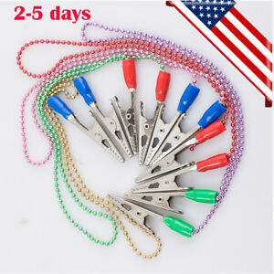 Usa Stainless Napkin Holder Dental Lab Bib Clip Flexible Metal Ball Chain 5pcs