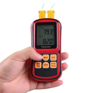 Digital Lcd 2 Channels Thermometer K type Thermocouple Temperature Tester Meter