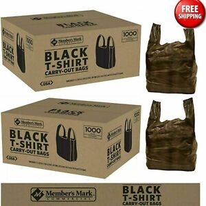 Member s Mark Black T shirt Recyclable Carry Out Thank You Bags 1 000 Ct Plastic