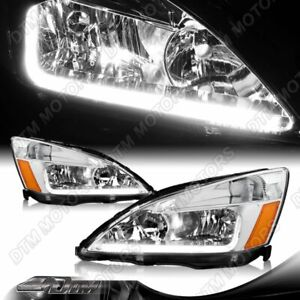 For 2003 2007 Honda Accord Drl Led Chrome Housing Headlights Withamber Reflector Fits 2003 Honda Accord Coupe