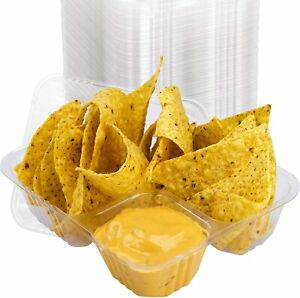100 Pack 5x6 Clear Plastic Disposable Nacho Tray For Concessions By Avant Grub