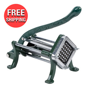 Green 1 2 Cast Iron Countertop Kitchen Manual French Fry Potato Cutter Slicer