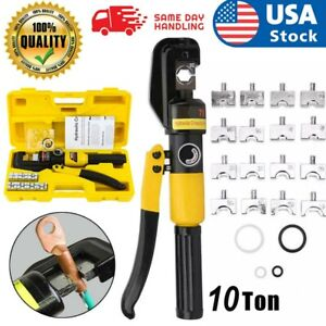 10 Ton Hydraulic Wire Crimper W 8 Dies Battery Cable Lug Terminal Crimping Tool
