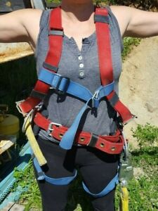 Safety Harness With Life Line And Rope Grab Complete Kit Used Large