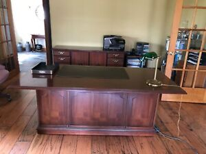 Indiana Furniture Cherry Executive Desk And Credenza kimball Desk Chair