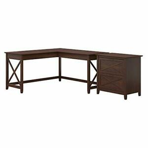 Key West 60w L Shaped Desk With 2 Drawer Lateral File Cabinet Bing Cherry