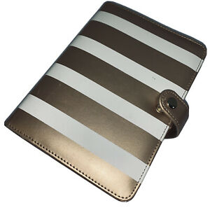 Organizer Planner Metallic Gold Whte Stripe Notebook Diary Daily Weekly Marked