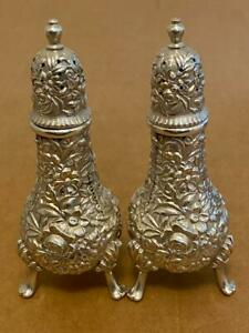 A Pair Of S Kirk Sons 925 Solid Sterling Silver Salt Pepper Shakers Nice