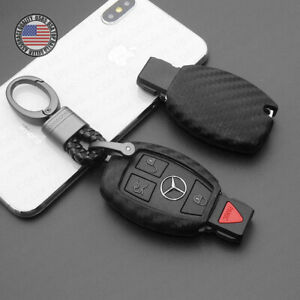 Carbon Fiber Style For Mercedes Remote Key Fob Case Shell Keychain Protect Gift