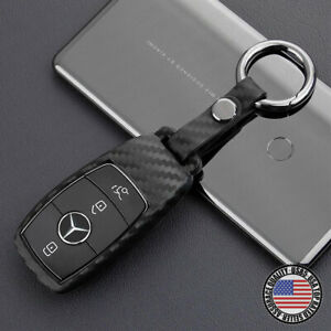 Carbon Fiber Style For New Mercedes Remote Key Fob Case Shell Keychain Protect
