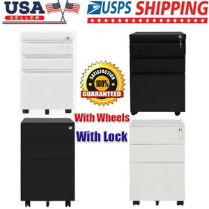 3 Drawer Locking Steel File Cabinet Movable With Wheels Locker Home Office Usa