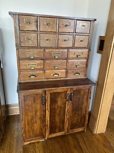 1900 s Antique Oak Stackable 17 Library File Drawers W lower Storage Cabinet