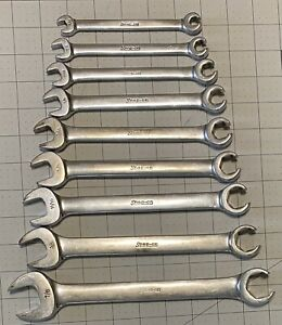 Snap on Tools Open End flare Nut Combo Line Wrench 9 Piece Set 7 8 5 16