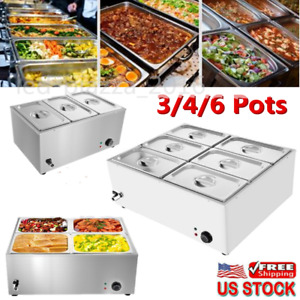 Commercial Food Warmer Bain Marie Steam Table Countertop 3 4 6 Pots Soup Station