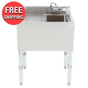 Commercial Stainless Steel 1 Bowl Underbar Hand Wash Sink With Left Drainboard