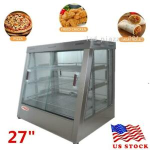 27 Commercial Food Warmer Court Heat Food Pizza Display Warmer Cabinet Glass Us