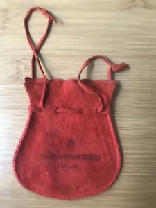 Red Suede Jewelry Pouch Drawstring Bag 3x3 5 Small Leather Vintage