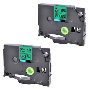 2pk Tz731 Tze731 Black On Green 1 2 Label Tape For Brother P touch Pt 1960 12mm