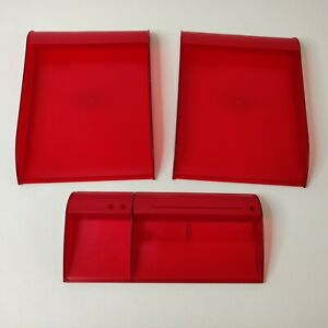 2 Vintage Stacking Ikea Office Desk Trays Letter Size Organizer Red 1990s 3 Pc