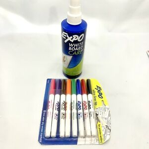 Expo Dry Erase Lot Whiteboard Cleaning Spray 8 Ultra Fine Tip Markers All New