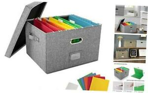 File Organizer Box Office Document Storage With 5 Hanging Filing Folders
