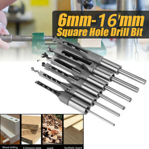 6x Woodworking Square Hole Mortising Chisel Drill Bit Wood Hole Saw Cutter 6size