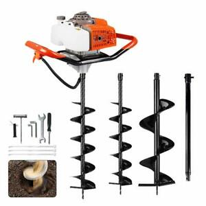 63cc Electric Post Hole Digger 2 Digging Auger Drill Bit Ext For Earth Ice