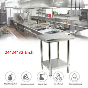Stainless Steel Top Food Safe Prep Table Utility Work Bench 24 24 32 Inches