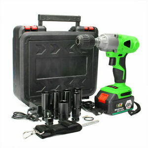 1 2 Electric Brushless Cordless Impact Wrench High Torque Tool W Battery Case