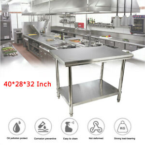Stainless Steel Top Food Safe Prep Table Utility Work Bench 40 28 32 Inches