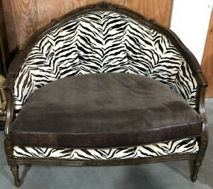 Brown Accent Chair With Zebra Print And Leather Seat Bedroom Living Room