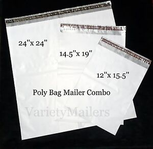 6 Poly Bag Mailer Variety Pack 3 Sizes 2 5 Mil Quality Large Shipping Bags