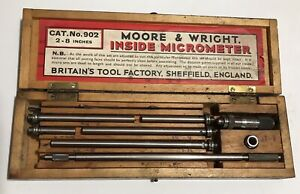 Moore Wright Inside Micrometer 2 8 Inches Sheffield England No 902 W case
