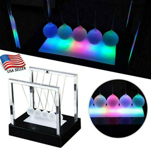 Newtons Led Light Up Ball Balance Kinetic Energy Cradle Home Office Science Toys