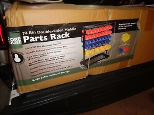 Nos Store House 72 Rolling Bin Parts Rack Double Sided