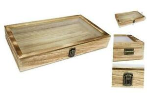 Wooden Jewelry Display Case With A Tempered Glass Top Lid Home Oak